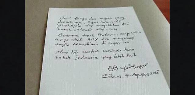Beredar Surat Hoax Seolah Dari SBY Untuk Pasangkan AHY dengan Prabowo