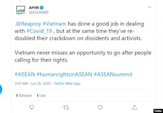 NHÓM NHÂN QUYỀN ASEAN LẠI LÀM TRÒ HỀ VU CÁO VIỆT NAM ĐÀN ÁP NHÂN QUYỀN