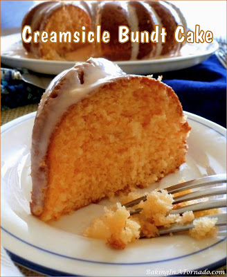 Creamsicle Bundt Cake, orange and vanilla flavors come together in this cake reminiscent of a summertime treat. | Recipe developed by www.BakingInATornado.com | #recipe #cake