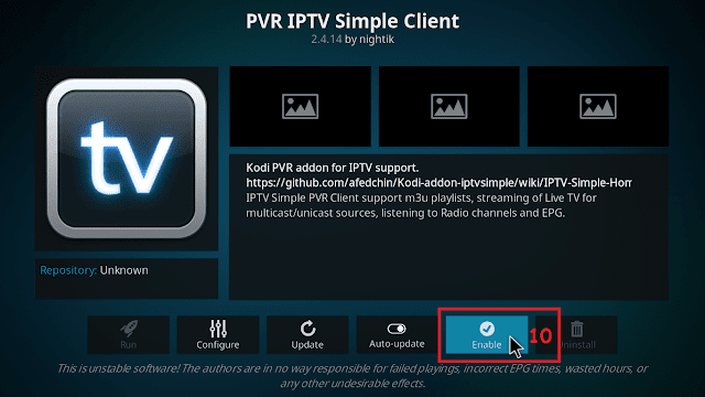 Cara menjalankan IPTV di KODI tahap 9
