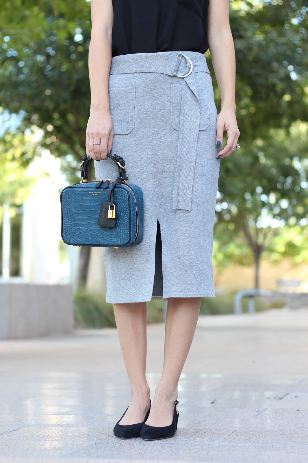 grey skirt - how to style a knit skirt - pencil skirt