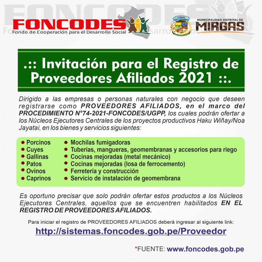 🚨 INVITACIÓN PARA EL REGISTRO DE PROVEEDORES AFILIADOS 2021