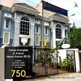 Jual murah rumah dalam komplek 3 lantai 3 kamar tidur di Jl. Karsa depan kantor BPJS Kesehatan Medan