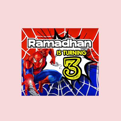 Contoh Banner Ulang Tahun Tema Spiderman