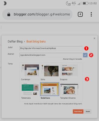 Paduan membuat blog gratis di blogger