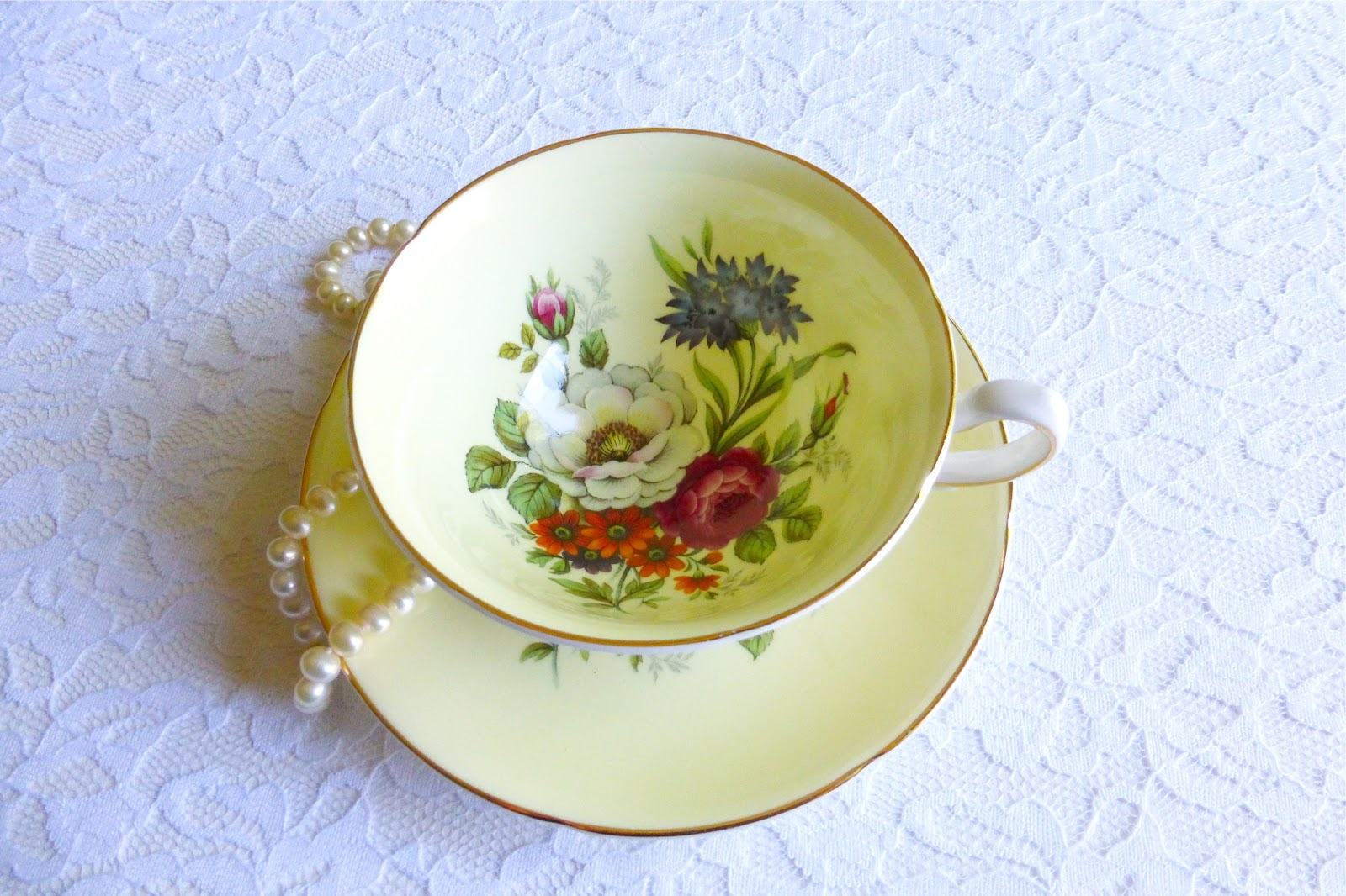 flatten the curve, flatten the coronavirus curve, flatten the COVID-19 curve, flatten the coronavirus COVID-19 pandemic curve, days of coronavirus quarantine, COVID-19 quarantine, Vintage Tea Treasures on Etsy, Vintage Tea Treasures by June Anderson of Under The Plum Blossom Tree blog, Royal Grafton #1454 pastel yellow wide teacup and saucer, A.B. Jones teacup and saucer, vintage pastel yellow teacup and saucer, vintage floral teacup and saucer, styling with vintage teacups, how to style vintage teacups, Royal Grafton wide teacup, #standwithsmall #etsy