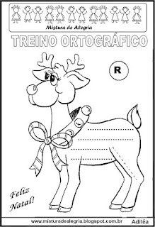Treino ortográfico símbolos do natal rena