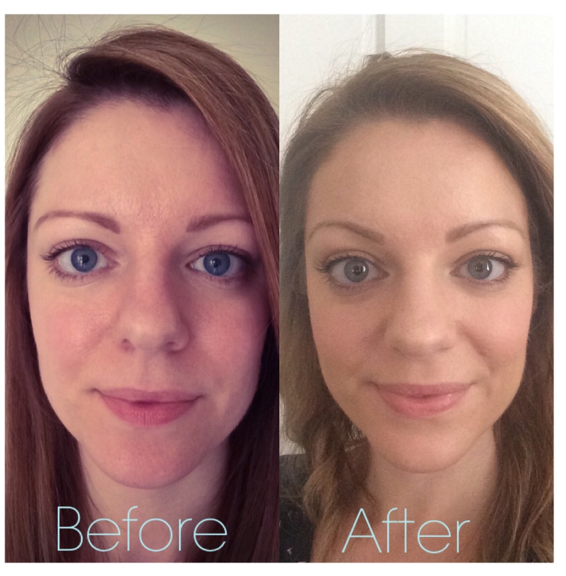 bare minerals before and after. look at the brow lift! bare minerals before and after