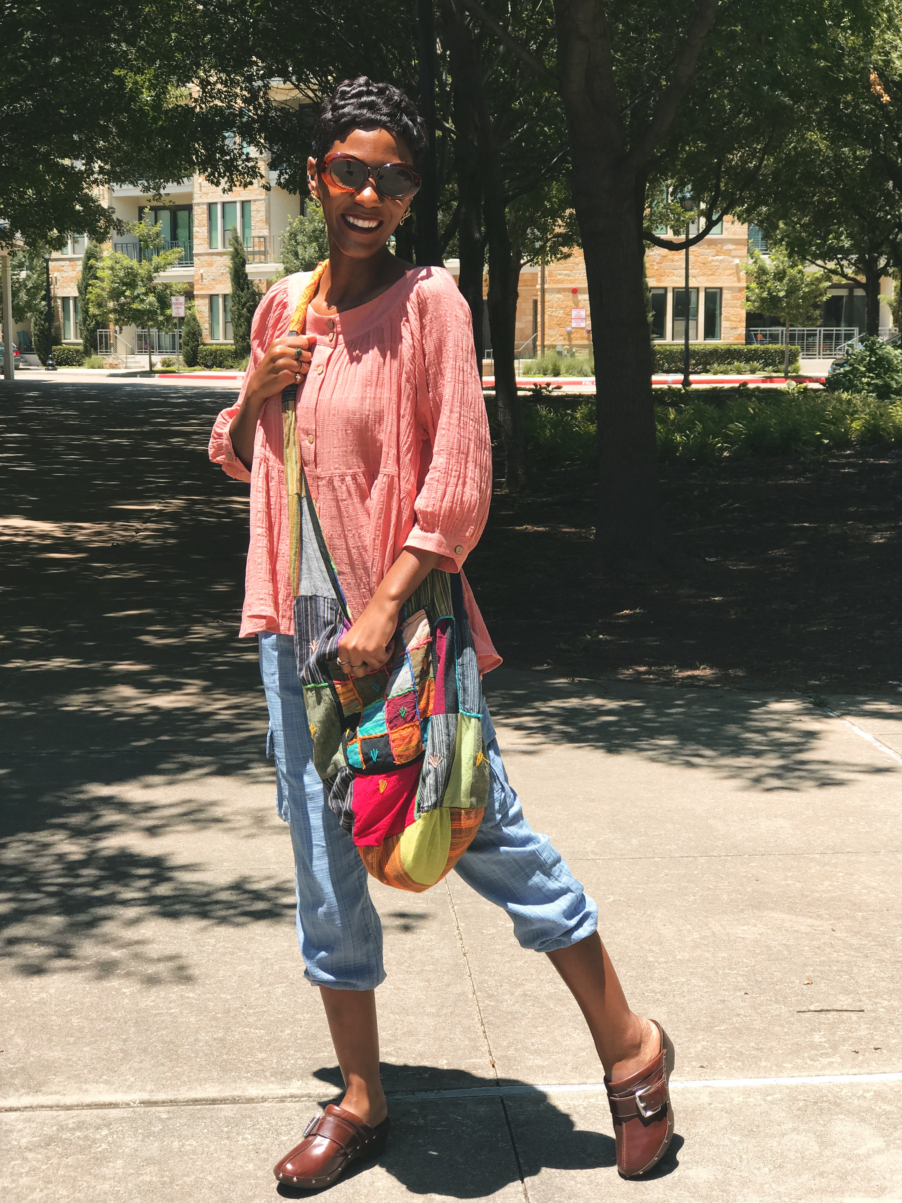 Restyle This With That: My Thrifted Boho Chic Look and Patchwork Bags
