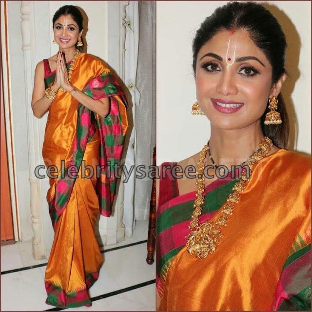 Shilpa Shetty Mustard Silk Saree