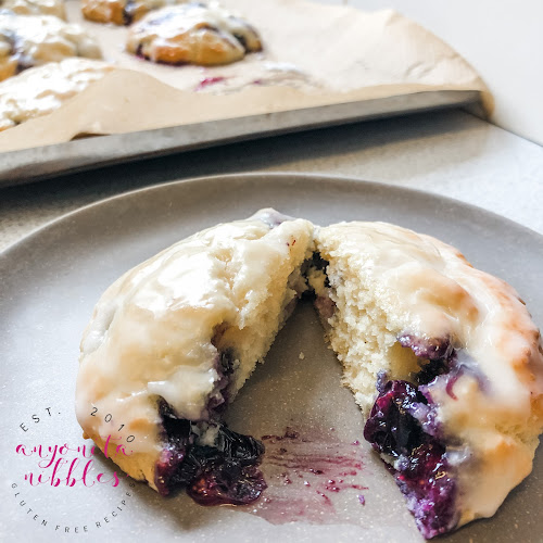 Gluten-Free Glazed Blueberry Biscuits | Anyonita Nibbles Gluten-Free