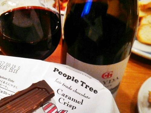 PeopleTreeのチョコ CaramelCrispと赤ワインは絶妙