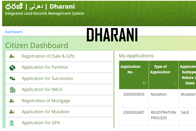Application for GPA in Dharani