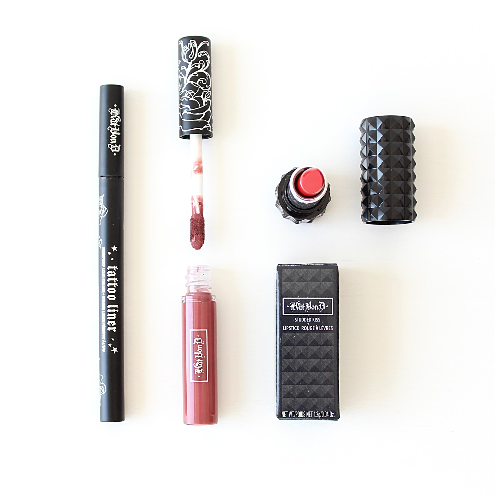 Kat Von D Beauty Review, Everlasting Liquid Lipstick in Lolita, Studded Kiss Lipstick in Underage Red, Tattoo Liner