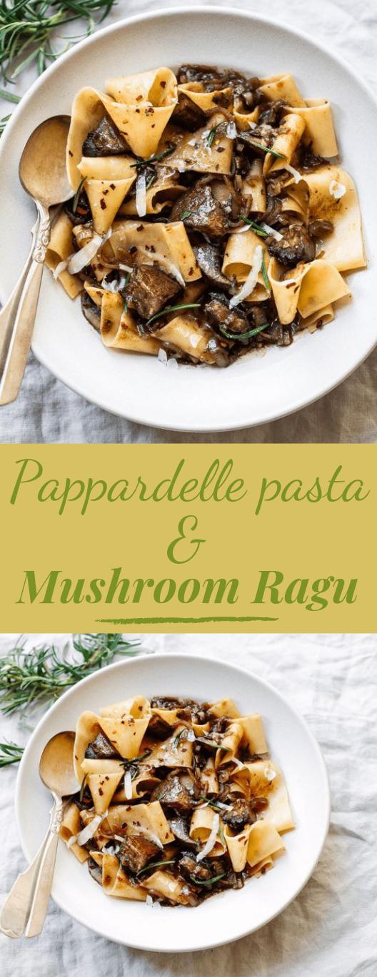 PAPPARDELLE PASTA WITH PORTOBELLO MUSHROOM RAGU #vegan #mushroom