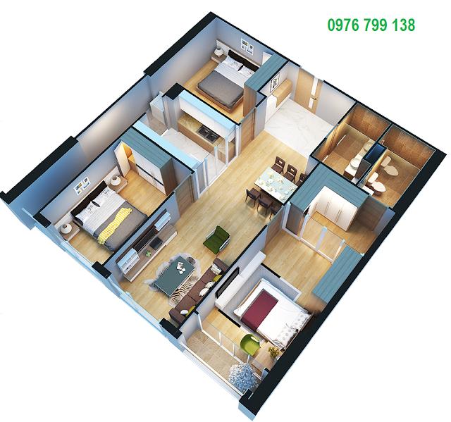 Căn hộ 105 m2 dự án Eco Green City