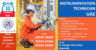 ITI and Diploma Job Vancy For UAE Position Required Instrumentation Technician Direct Walk In Interview On 11th January 2020