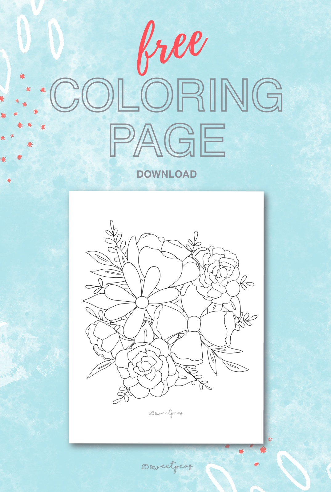 25 Sweetpeas Free Wildflower Coloring Page