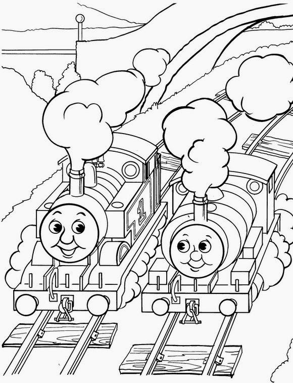 Mewarnai gambar Thomas untuk anak 3
