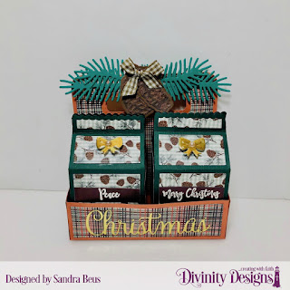 Custom Dies: Milk Carton Holder,  Milk Carton with Layers, Christmas Greetings,  Pinecones & Pine Branches, Stamp/Die Duos: Deer Ornament