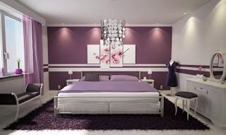wandgestaltung schlafzimmer flieder