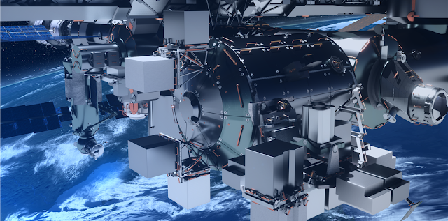 Artist's rendering of the Bartolomeo platform attached to the ISS Columbus Module. Credit: Airbus Defence and Space.
