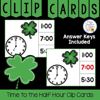 Time to the Hour and Half Hour Clip Cards Shamrock Themed