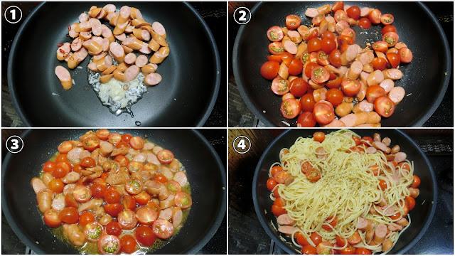 大きめの鍋に水2リットルを沸かしはじめ、沸騰したら塩(大さじ1・分量外)を加え、スパゲティをゆで始めます。 ゆで時間は表示時間より1分短くします。