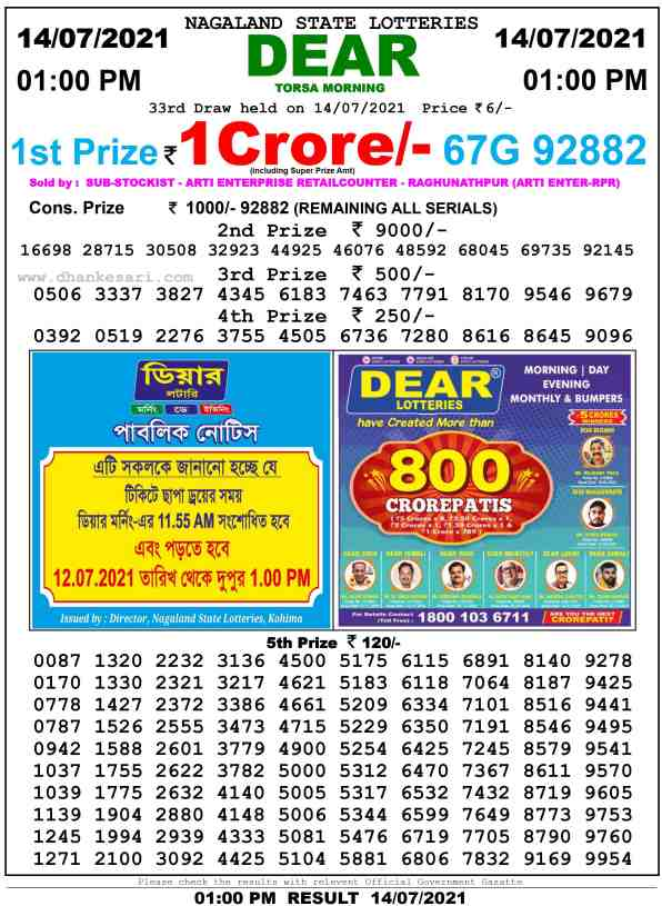 lottery sambad 14 7 2021 morning 1pm