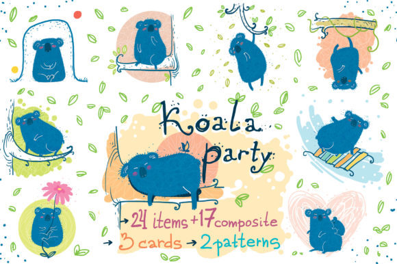 Koala Party Sticker Pack