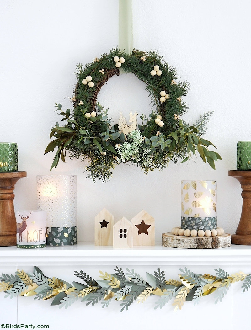 Neutral Farmhouse DIY Christmas Décor - quick, easy, inexpensive and eco-friendly Holiday mantel decorations, projects and crafts! by BirdsParty.com @birdsparty #neutralchristmas #neutraldecor #naturalchristmas #naturaldecor #christmas #christmasmantel #manteldecor #holidaydecor #neutralfarmhouse #neutralfarmhousechristmas #neutralfarmhousedecor #scandinavianchristmas #christmasmantel