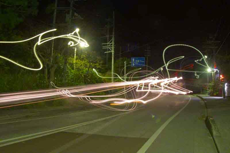HWY 71, Okinawa, Vehicle lights from both directions, night