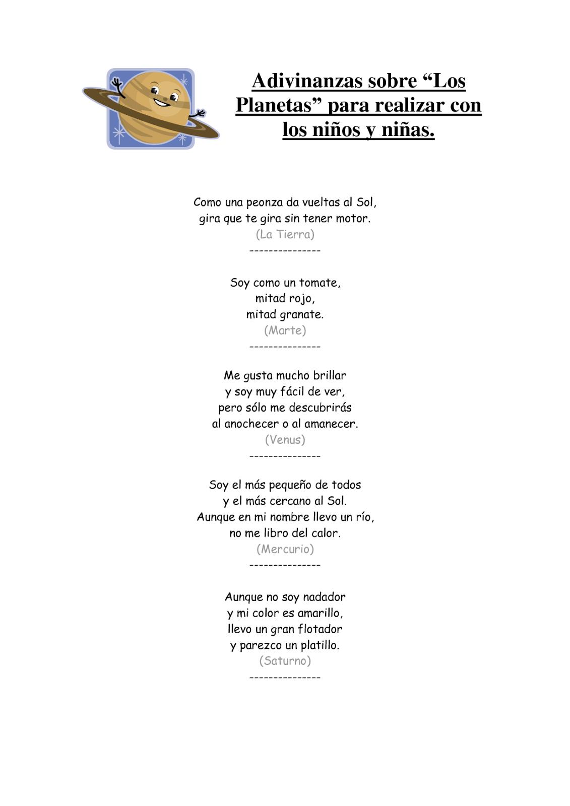Recursos Y Actividades Para Educación Infantil Poesias Y Adivinanzas Los Planetas