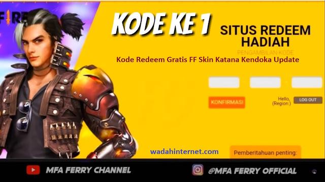 Kode Redeem Gratis FF Skin Katana Kendoka Update Terbaru