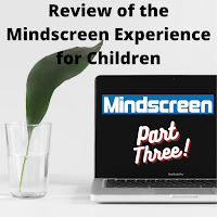 In the foreground, a drinking glass with water in it and a long, thin green leaf and, in the background, a laptop featuring the Mindscreen logo