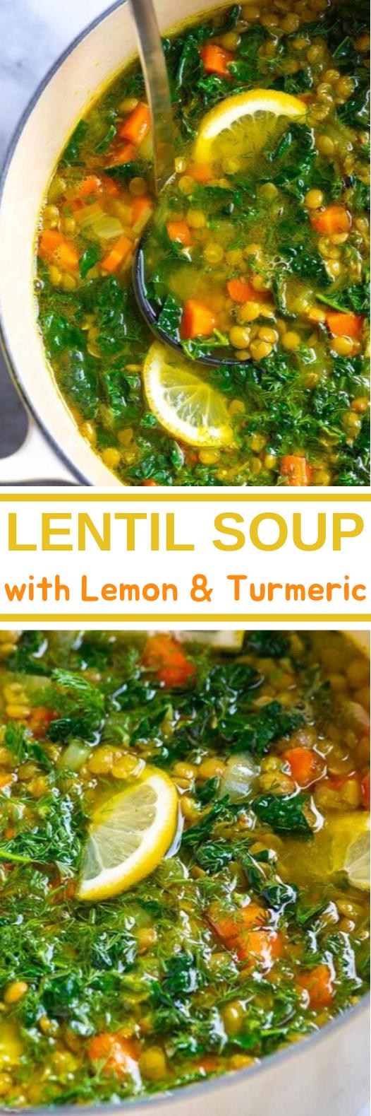 Lentil Soup with Lemon and Turmeric #vegan #healthy #glutenfree #recipe #soup