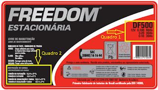 Imagem da etiqueta técnica da bateria Freedom