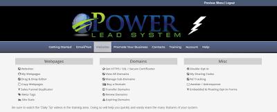 Power Lead System Dashboard Website Dropdown menu.