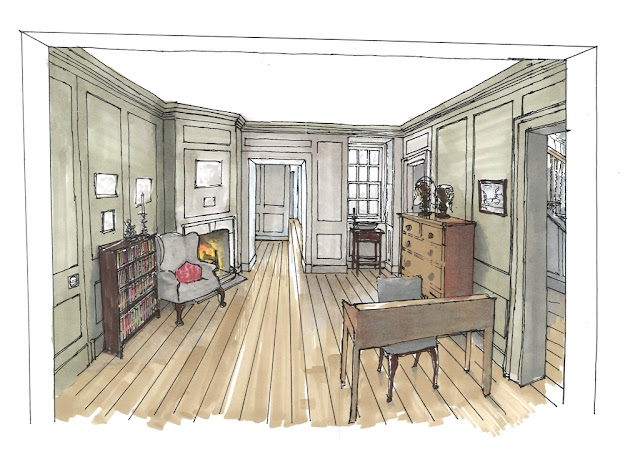 Plans for the restored rear parlour at Handel's house in Brook Street