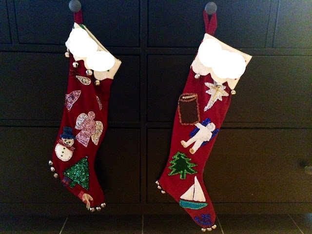 Velveteen Christmas stocking with beads, sequins, jingle bells,.and Space events.