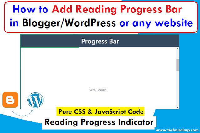 Add Reading Progress Bar Indicator CSS code