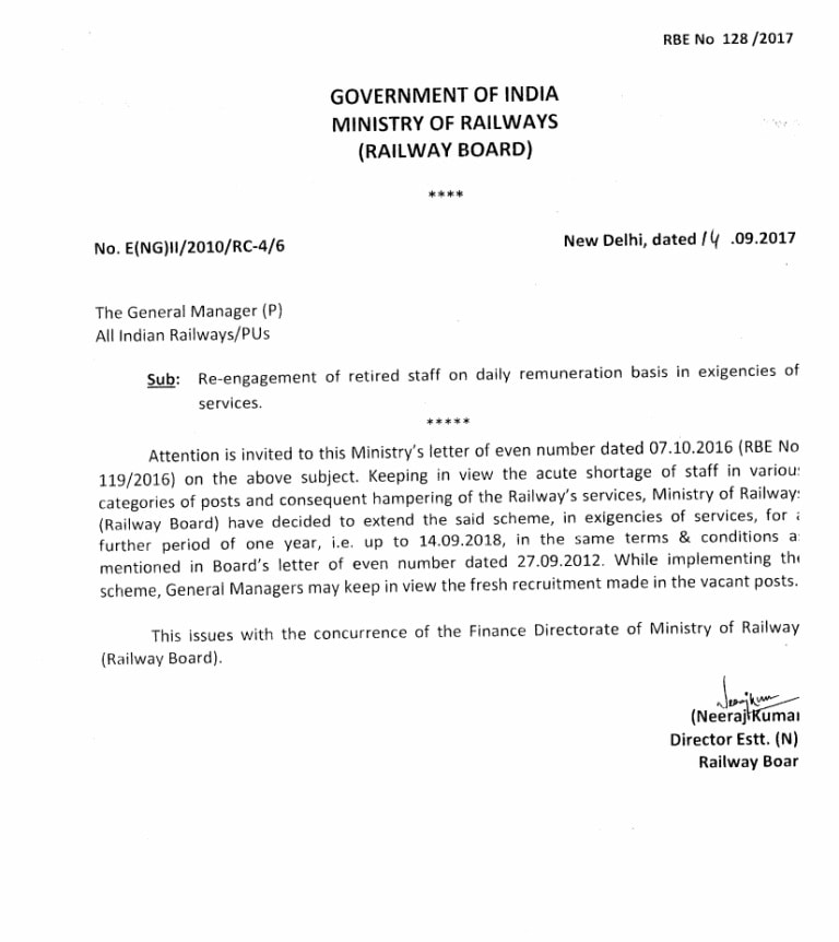Re-engagement of retired staff on daily remuneration basis ...