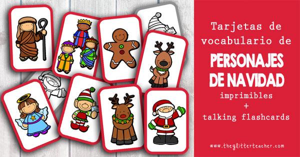 Tarjetas de vocabulario de PERSONAJES DE NAVIDAD imprimibles y talking flash cards