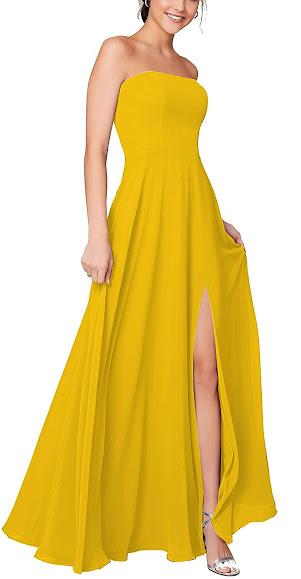 Beautiful Yellow Chiffon Bridesmaid Dresses