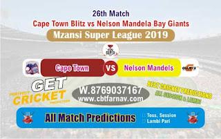 Mzansi Super League Nelson vs Cape Town 26th Today Match Prediction Reports