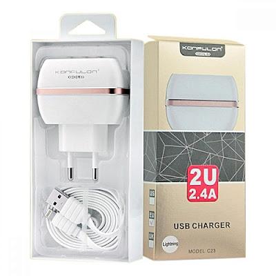 Chargeur Téléphone Konfulon (C23) 2.4A double USB charge Maroc