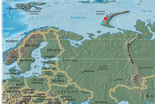Mapa do local de detonação em Nova Zembla