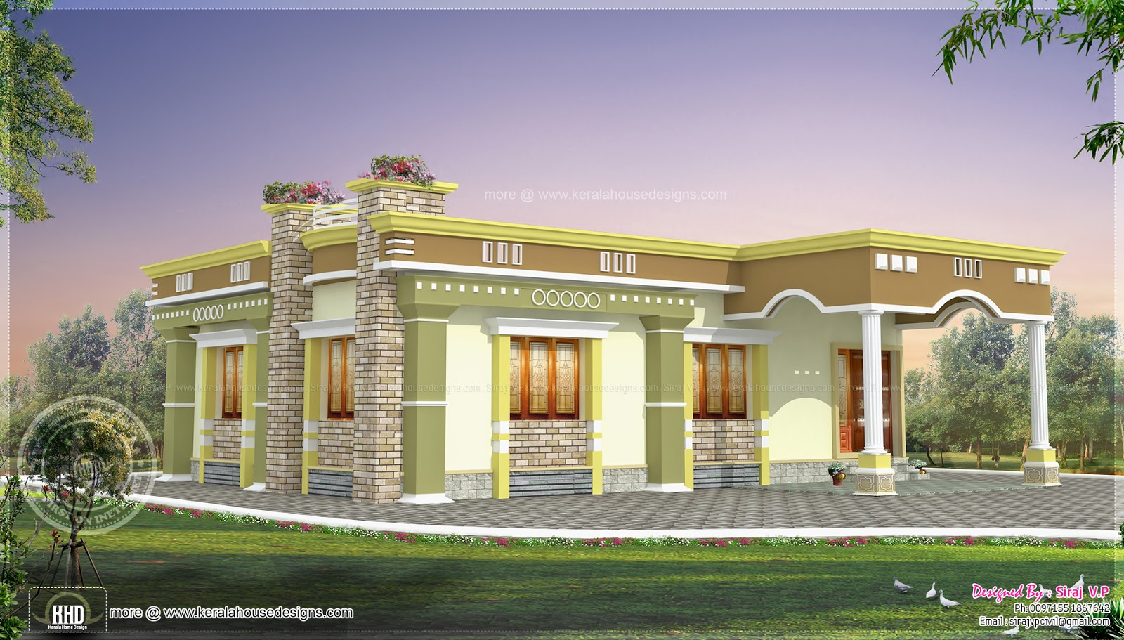 Small south indian home design kerala home design and for North indian house designs photos