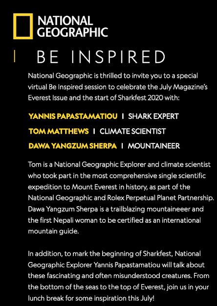 NatGeo Explorers Be Inspired Session review Invitation with time and who'll be talking