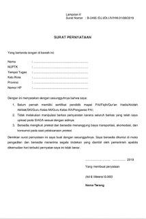 Contoh surat pernyataan calon peserta pretest ppg di siaga